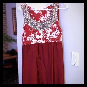 Red dress with embellished neckline